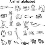 Animals from animal alphabet. Vector images on white background Royalty Free Stock Image