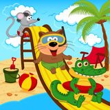 Animals in aqua park. Vector illustration, eps royalty free illustration