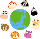 Animals around the globe Royalty Free Stock Photo