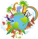 Animals around a globe Stock Photos