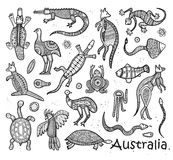 Animals drawings aboriginal australian style. Animals Of Australia. Sketches in the style of Australian aborigines Stock Images