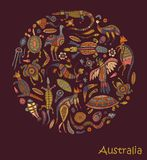 Animals drawings aboriginal australian style. Animals Of Australia. Sketches in the style of Australian aborigines Royalty Free Stock Images