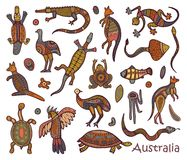 Animals drawings aboriginal australian style. Animals Of Australia. Sketches in the style of Australian aborigines Royalty Free Stock Image