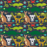 Animals Australia snake, turtle, crocodile, alliagtor, kangaroo, dingo. Seamless pattern on  dark background. Vector Stock Photography