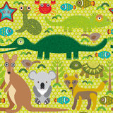 Animals Australia snake, turtle, crocodile, alliagtor, kangaroo, dingo. Seamless pattern on  green background. Vector Stock Image