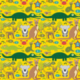 Animals Australia snake, turtle, crocodile, alliagtor, kangaroo, dingo. Seamless pattern on  green background. Vector Stock Photos