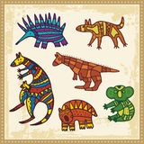 Animals in Australian Aboriginal Style. Set of animals in Australian aboriginal style Royalty Free Stock Photos