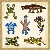 Animals in Australian Aboriginal Style. Set of reptiles and amphibians in Australian aboriginal style Stock Images