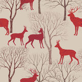 Animals in autumn forest pattern. Fall leaves and trees seamless Royalty Free Stock Photos