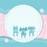 Animals in Baby Card Royalty Free Stock Photo