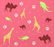 Animals background. Pink background with colorful animals vector illustration