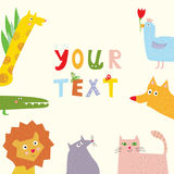 Animals background with funny design for kids Stock Image