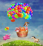 Animals in a balloon Stock Photography