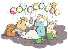 Animals with Balloons and Sweets Stock Image