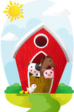 Animals in barn. A vector illustration of farm animals in a barn Royalty Free Stock Photo