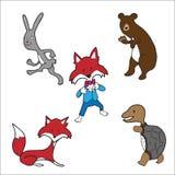 Animals bear fox turtle rabbit Royalty Free Stock Photo