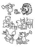 Animals behind work vector illustration