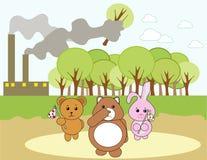 Animals in big danger. Illustration Stock Photo