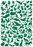 Animals. Big vector set of animal silhouettes isolated on a white background Royalty Free Stock Photos