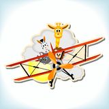 Animals in the biplane Stock Images