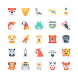 Animals and Birds Colored Vector Icons 2 Stock Photography