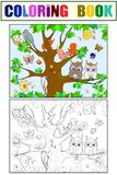 Animals and birds living on the tree coloring for children cartoon vector illustration. Black, white and colored stock illustration