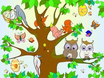 Animals and birds living on the tree coloring for children cartoon vector illustration. Colored Royalty Free Stock Images