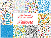 Animals and birds seamless patterns set Royalty Free Stock Images