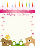 Animals birthday card Royalty Free Stock Image