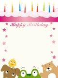 Animals birthday card Royalty Free Stock Image