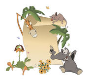 Animals With Blank Sign Board cartoon Stock Photo