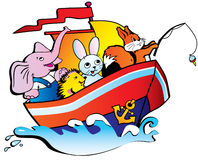 Animals in the boat. Stock Image