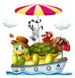 Animals on boat. Illustration of many animals on a boat Stock Images