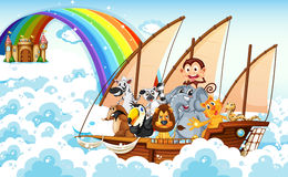 Animals on boat Stock Photography