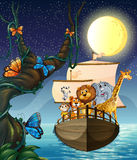 Animals and boat Stock Image