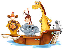 Animals on boat Stock Photos