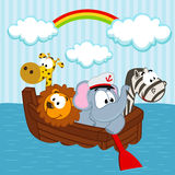 Animals in the boat Royalty Free Stock Image