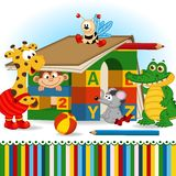 Animals built house out of baby blocks Royalty Free Stock Image