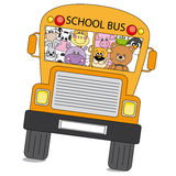 Animals bus. Many animals are on the bus to school stock illustration