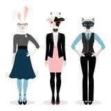 Animals businesswoman icons stock illustration