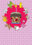Animals Cake Card_eps vector illustration