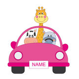 Animals in a car, girl Royalty Free Stock Photos