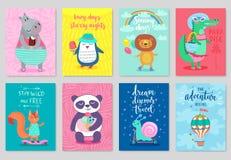Animals card set, hand drawn style, summer theme. Royalty Free Stock Photo