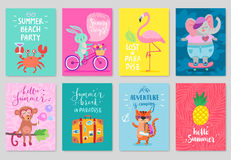 Animals card set, hand drawn style, summer theme. Stock Image