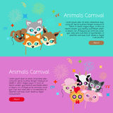 Animals Carnival. Collection of Face Masks for Kids. Animals carnival collection of masks for kids. Masks of dog with fox near hare and sheep. Domestic cat with royalty free illustration