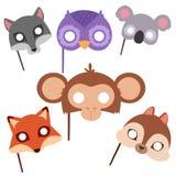 Animals carnival mask vector festival decoration masquerade and party costume cute cartoon head decor celebration. Vector illustration. Traditional fantasy Stock Image