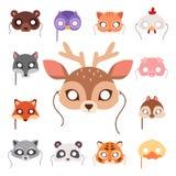 Animals carnival mask vector festival decoration masquerade and party costume cute cartoon head decor celebration. Vector illustration. Traditional fantasy Stock Photo