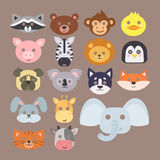 Animals carnival mask vector set festival decoration masquerade and party costume cute cartoon head decor royalty free illustration