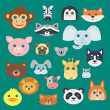 Animals carnival mask vector set festival decoration masquerade and party costume cute cartoon head decor isolated. Celebration vector illustration. Traditional Royalty Free Stock Photography