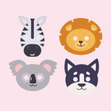 Animals carnival mask vector set festival decoration masquerade and party costume cute cartoon head decor isolated. Celebration vector illustration. Traditional Stock Image